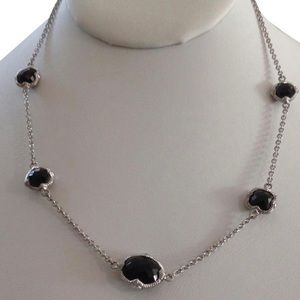 "JR TWO 925 Black Onyx ""Contempo"" Station Necklace"